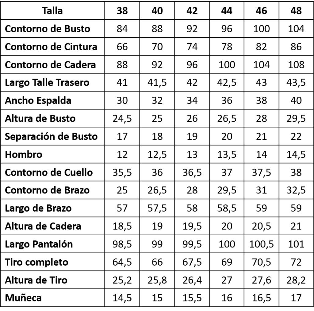 tabla de medidas de damas
